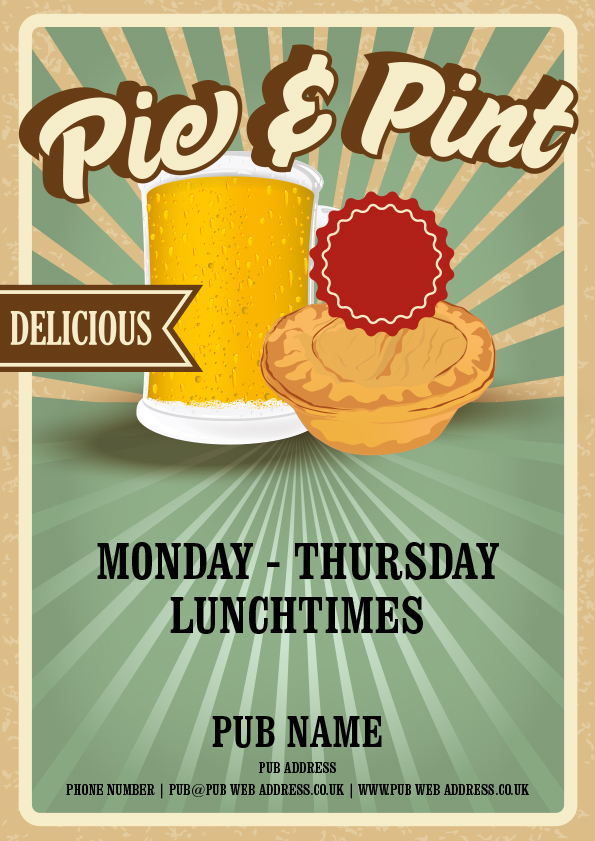 pie and a pint event flyer artwork 16345 hall and woodhouse