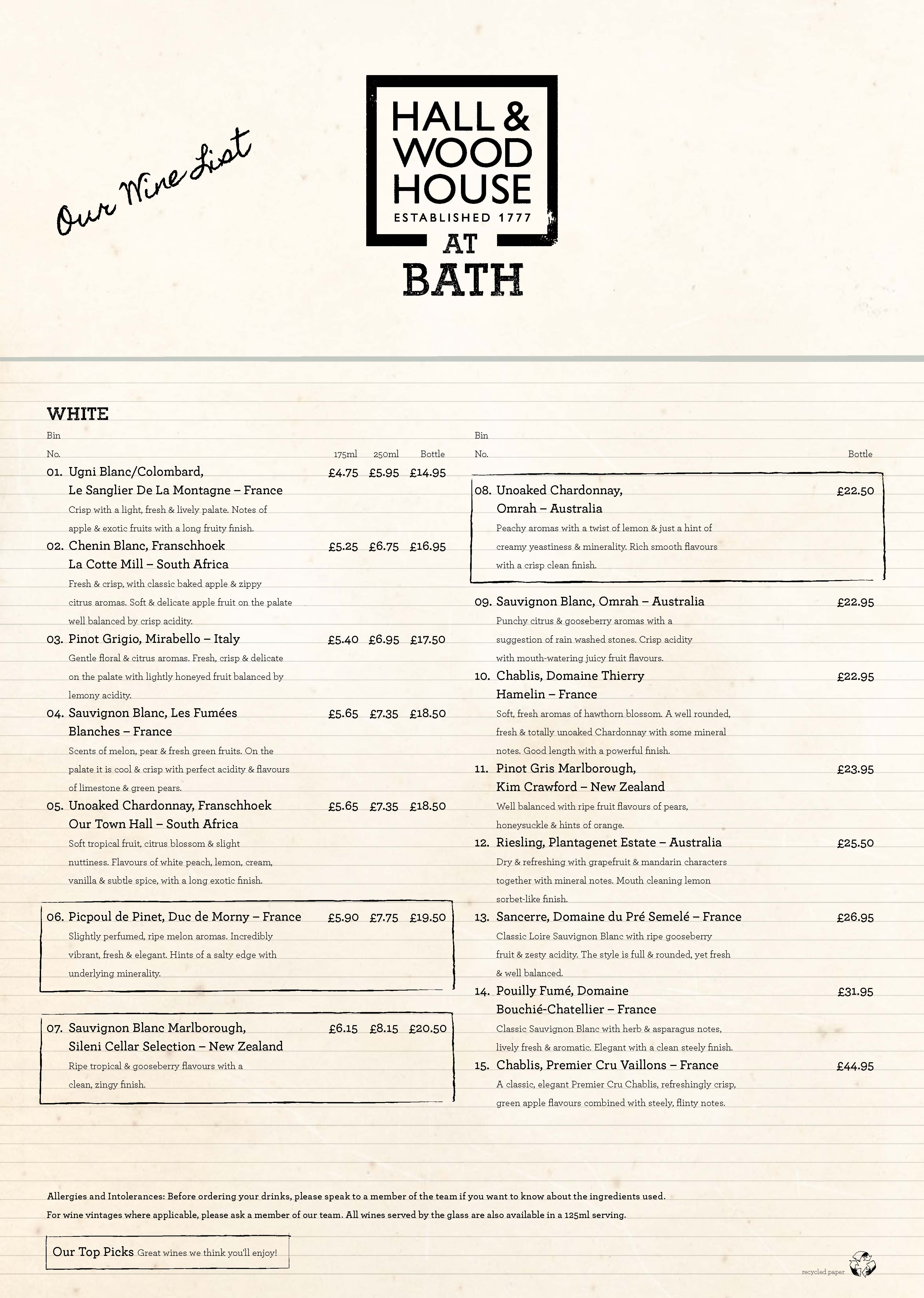 42151 HAL Alchemy Wine List Summer 2016 Price Band C BATH Page 1. Bath Shop List
